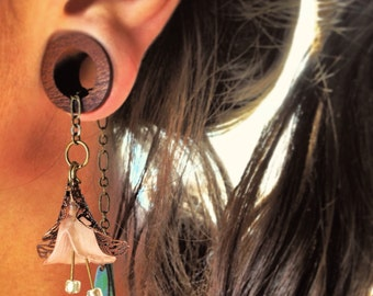 """Magnetic Bloodwood Tunnels with Lily Dangles/Sizes 1/2""""(13mm)&9/16""""(14mm)Expanders/Wood Gauges/Stretchers/Tunel/Eyelets/Dangle Plugs/Formal"""