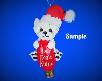 Westie Terrier White West Highland Santa Dog Christmas Holidays Light Bulb Ornament Sally's Bits of Clay PERSONALIZED FREE with dog's name