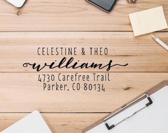 Calligraphy Self Inking Address Stamp, Personalized House Address Stamp, Family Address Stamp, New Address Stamp - CA736