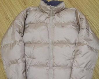 TOMMY HILFIGER jacket vintage shiny gray jacket, 90s hip-hop clothing, 1990s hip hop, Tommy sailing gear, og, gangsta rap, size S Small