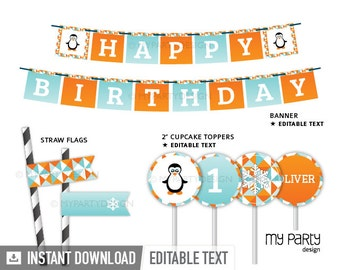 Penguin Party - Party Pack - Aqua Blue and Orange - Geometric - Printable PDF with Editable Text