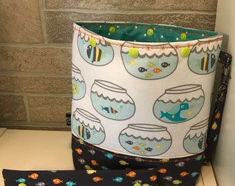Fish in goldfish bowl snap top project bag with flat bottom and knitting needle cozy - ready to ship