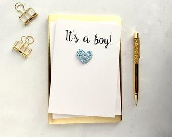 New baby boy card - It's a boy card - White card