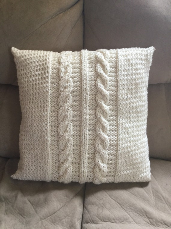 16x16in hand knit cabled pillow cover with oversize button closure