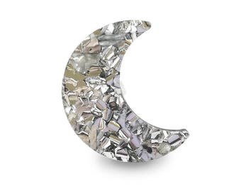 Crescent Moon Sparkle Silver Ring - Big Glitter Witchy Dreamy Acrylic Perspex Edgy Retro 60's 70's Christmas Party Night Dreamy