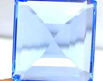 High Class A1 121.70 Ct Certified Emerald Cut Transparent London Blue Topaz Loose Gemstone AO1683