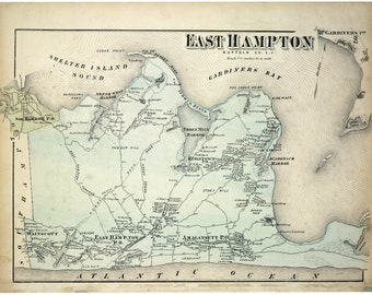 East Hampton, East Hampton NY, Hampton East, East NY, NY East Hampton, Ny East, Long Island, Long Island Map, Map Long Island, Old Maps, Map