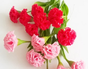 Miniature Polymer Clay Flowers Red and Pink Carnation with Leaves, 6 stems