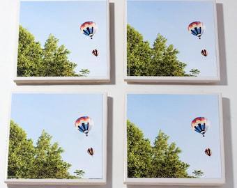 Hot Air Balloon Coaster Set //  Coasters // Set of 4 Ceramic// Blossom Time// Home Decor// Wedding