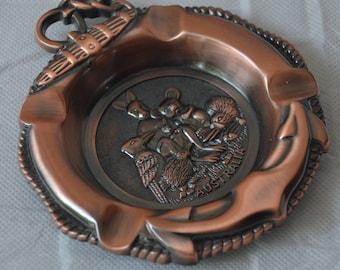 "eb2484 Copper or Plated AUSTRALIA Souvenir Ashtray Kangaroo Koala Platypus - measuring 4.5"" x 5""."