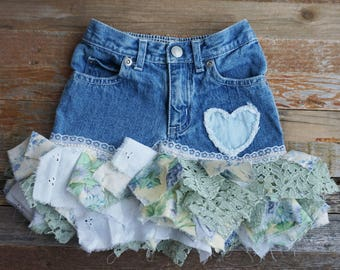 Shabby chic clothing, Tattered Skirt, Rag skirt, Altered clothing, upcycled recycled repurposed clothing, upcycled skirt, tattered clothing