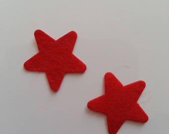 lot de 2 appliques etoile feutrine rouge 25mm