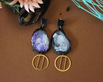 made to order resin earrings, handmade in italy, made in italy
