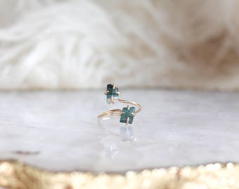Blue Tourmaline Duo Ring