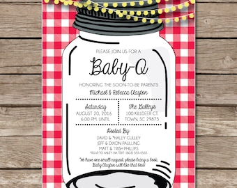 Baby Q Baby Que Baby Shower Invitation New Baby Digital Or Print Copy Custom Gingham Backyard Barbecue Party Mason Jar Lights Picnic