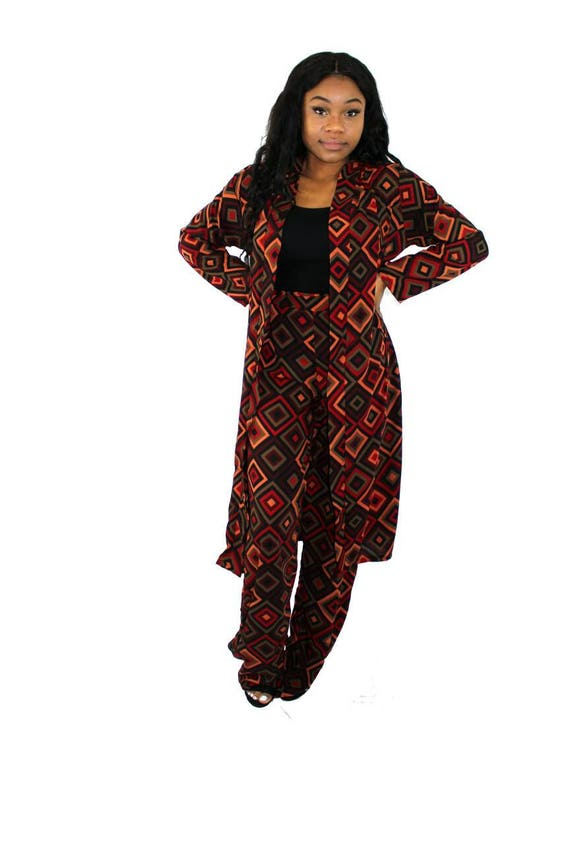 Kate Multi Patterned Womenswear Kimono Trouser Pant Suit