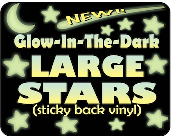 Nursery wall decor, Glow Stars, Toddler room decor, Large glow in the dark stars, Removable stars, ceiling stickers,  Kids Room Wall Decor