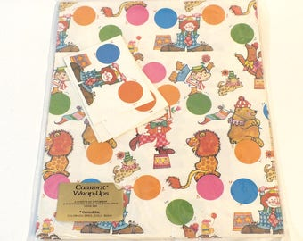 Vintage Current Wrapping Paper Gift Wrap All Occasion Birthday Clowns Circus Juggling Clown Bears Lions