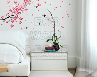 PEEL and STICK Kids Nursery Removable Vinyl Wall Sticker Mural Decal Art - Birds and (PINK) Falling Cherry Bloom flowers Tree