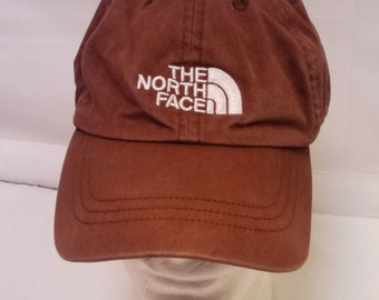 Vtg Late 90's The North Face Brown Adjustable Strap Back Baseball Hat Cap