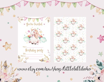 Unicorn Birthday party DIY Invitation