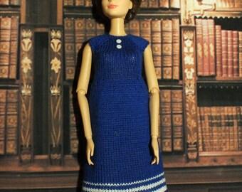 Handmade Blythe / Azone / Obitsu / Barbie doll blue dress
