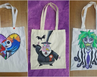 Custom Any theme Nightmare Before Christmas Hand Painted Tote Shopping Bag