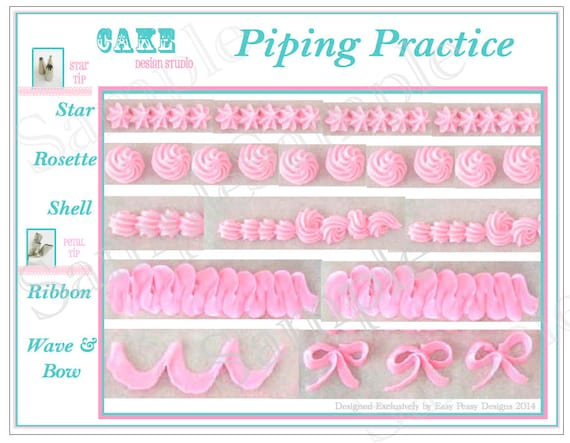 Items similar to Piping Practice Placemat. Printable Icing Template ...