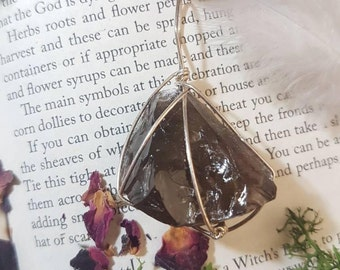 Wire wrapped large Smoky Quartz pendant. Wire wrapped crystal. Smoky Quartz. Crystal healing. Crystal pendant. Wire wrapped jewelry.