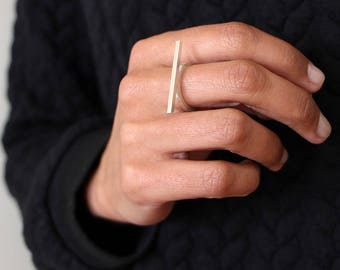 Linear Collection - Ring - sterling silver contemporary jewelry abstract urban geometric minimal line stackable