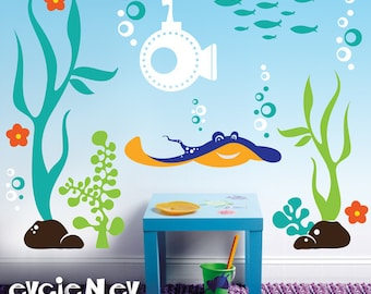 Children Wall Decals -Underwater Theme - Ray, Submarine, Seaweed and Fish - Kids Nursery Decals - PLUW010R