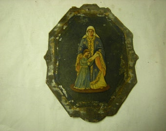 vintage hand painted french tableau-painting on metal-religious painting-wall decor-spirituality-