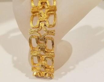 Crown Trifari Brushed Gold tone link bracelet Vintage