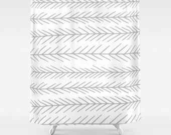 Shower Curtain White Shower Curtain Art, minimalist shower curtain, scandinavian shower curtain, modern white bathroom decor