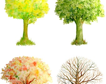 Hand painted watercolor trees four seasons - spring, summer, autumn and winter large files instant download for greeting cards wall decor