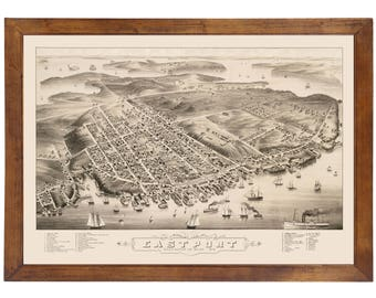 Eastport, ME 1879 Bird's Eye View; 24x36 Print from a Vintage Lithograph