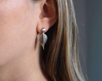 Handmade sterling silver, small dangling hammered leaf earrings