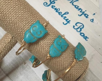 Stackable Wire Bangle Bracelet (Set of 3) with Owls