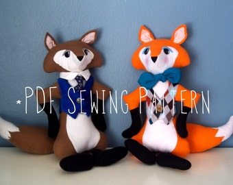 Stuffed Animal Fox with Vest PDF Sewing Pattern
