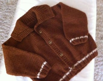 Knit boy sweater, brown sweater size 5 to 6 years old, boy cardigan, children cardigan, boy sweater, toddler sweater