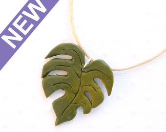 Polymer clay monstera leaf NECKLACE