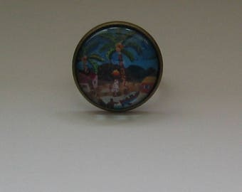 Ring cabochon 20mm jewel * African landscape *.