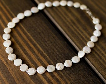 Freshwater Pearl Coin Knotted Necklace