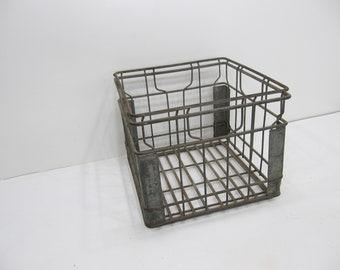 Vintage Metal Milk Crate, Central Dairy , Wire Crate, Industrial, Storage Crate, Photo Prop