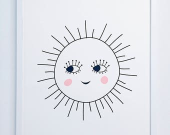 Modern kids decor, Cute silkscreen art, Sun art print,
