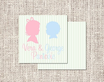 Silhouette Sibling Enclosure Card or Labels - Choose Silhouette