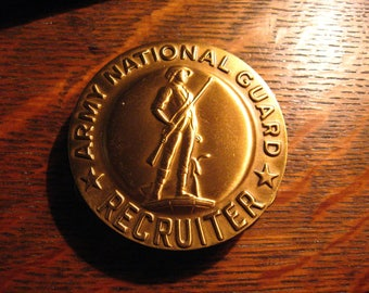 Army National Guard Recruiter Badge - Vintage USA Military American Uniform Pin