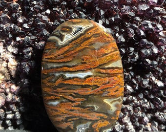 Turkish plume and pseudomorph agate cabochon