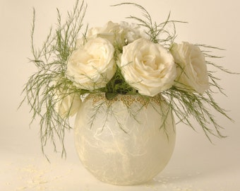Large bowl - wedding centre piece - natural strawsilk with gold delicate ornate filigree rim -also can be used  as a large candle bowl