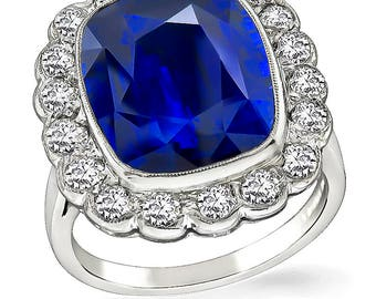 Vintage 10.30ct Sapphire 1.25ct Diamond Engagement Ring